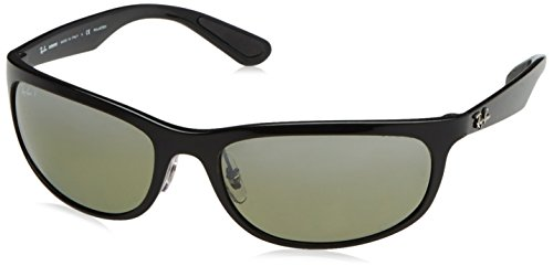 RAYBAN JUNIOR Herren Sonnenbrille RB 4265 Chromance, Shiny Black/Greypolarmirrorsilver, 62