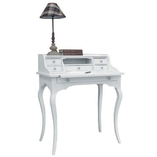 Legno&Design Secrétaire Bureau Bois Arte Povera Tirette 6 tiroirs laqué Blanc