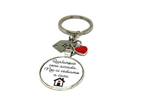 Portachiavi - Idea regalo nuova casa - Portachiavi acciaio - Portachiavi casa - Qualunque cosa accada noi ci vediamo a casa - Portachiavi convivenza