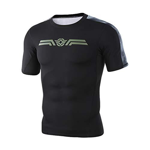 REALIKE Herren Kurzarm Fitness T-Shirt Freizeithemd Breathable Drucken Tops Mode Slim Fit Shirts für Gym & Training - Passform Slim-Fit, lang mit Rundhals Sommer Party Bluse Größe M-2XL Oberteil - Pit-crew Hemd