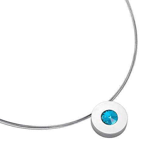 amen Lumen aus Edelstahl Silber farbend matt Kette für Frauen mit Swarovski Stein Kristall hell blau im Fantasie Edelsteinschliff 10mm ()