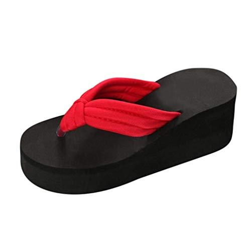 Qiusa Sandalen für Damen, Hausschuhe Gladiator Wedge Tan Closed Toe Plattform Sparkly High Low Heels römische Flats Flip Flops Thongs, Rutschhemmende Dicke untere Slipsole Strandschuhe
