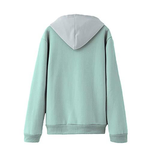 COOKDATE Damen Kapuzenpullover Winter Freizeit Hohe Kragen Pullover mit Tasche Sweatshirt Langarmshirt Hoodie 927619Grün Do -