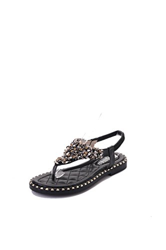 TMKOO& sandali piatti elastiche 2017 estate pezzi sandali New England punta della clip di diamante di lusso del commercio estero Nero