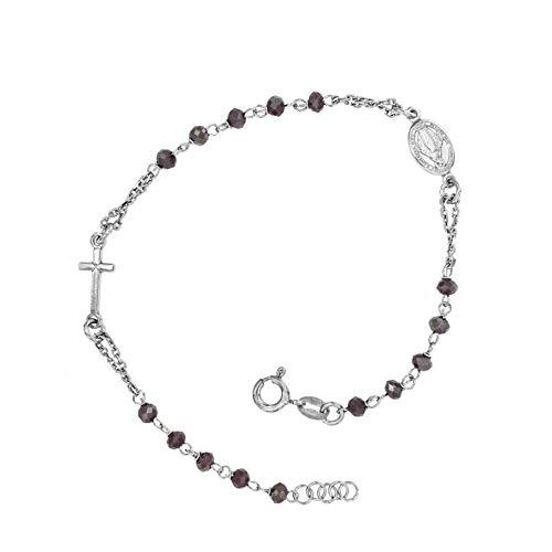Bracciale rosario donna uomo argento 925 pietre lilla madonna croce made in italy 2a generazione (lilla)