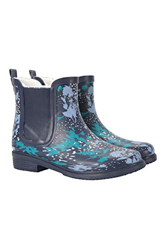 Mountain Warehouse Winter Ankle Printed Womens Rubber Wellies - Fur Lined Wellington Boots, Durable Rain Shoes, Easy Clean - Ideal Footwear for Walking & Daily Use