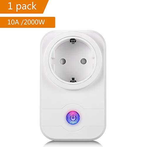 Wifi Steckdose,Smart Wifi WLAN Home Steckdose, intelligente Funksteckdose Wifi Adapter mit Amazon Alexa (Echo und Echo Dot) und Google Home App Steuerung für IOS und Android (1)