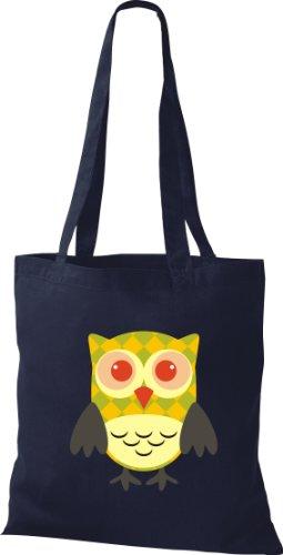 Stoffbeutel Bunte Eule niedliche Tragetasche mit Punkte Karos streifen Owl Retro diverse Farbe blau