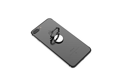 Kronya® | 360° drehbarer Smartphone Fingerhalter | Case Finger Griff Halter Halterung Handy Hülle Ring Ringhalter Ständer Tablet | Kompatibel mit Apple iPhone iPad Samsung Galaxy | 5 (Schwarz)