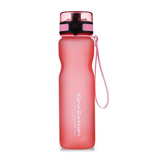 Oneisall 1000ml BPA-freie, tragbare Tritan Sport-Trinkflasche mit lebensmittelechtem PP Sieb und auslaufsicherem Flip Top Deckel fürs Laufen, Radfahren, Yoga, DGYBL296, rose