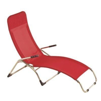 Jan kurtz chaise longue samba matthias philipps-rouge, aluminium, textilène (fibres de polyester gainées de pVC) imperméable et anti-uv bleu piscine