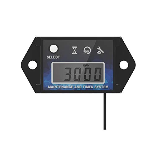 Runleader HM026C Digitale Induktive Tachometer LCD Betriebsstundenzähler für Alle Benzinmotor ATV UTV Dirtbike Motobike Motorrad Outboards Schneemobil Pitbike PWC Marine Kettensäge Wasserdich