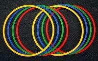 lot de 8 cerceaux de gymnastique plats / cerceaux de coordination plats, Ø 60 cm, 4 couleurs - 8x R60ybrg