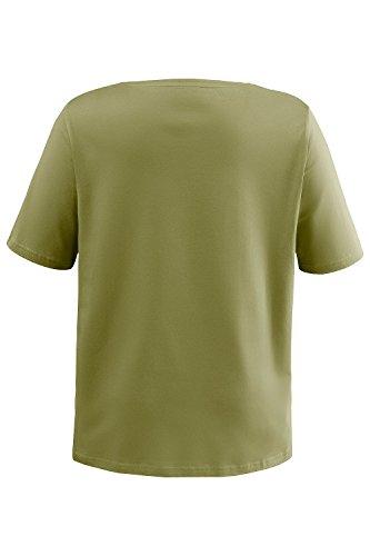 Ulla Popken Damen große Größen | Basic T-Shirt | Shirt mit Rundhals und Kurzarm, uni | Regular Fit | bis Größe XXXL | 697643 dschungelgrün