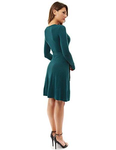 PattyBoutik Damen Strickkleid, langärmlig mit V-Ausschnitt und Gürtel Dunkeltürkis