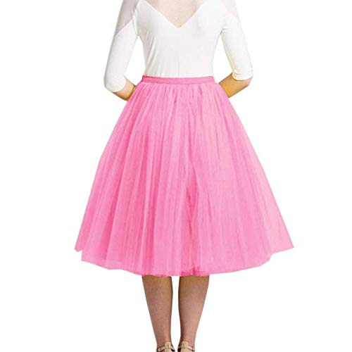 YUHUALI Damen-Pettiskirt, halblang, 65 cm lang, 5-Lagen-Netzrock, Tüllhemd, Farbe 04, Rocklänge 65 cm