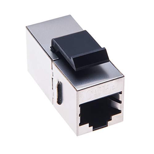 RJ45 Kupplung von Keple | RJ 45 Buchse LAN Verbindung | Kabel Adapter für UTP CAT 5, CAT 5e Ethernet LAN Patch Netzwerkkabel Verlängerung & Keystone Wand Frontplatte | Metallgehäuse -