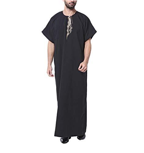 Kostüm Dubai Party - KRUIHAN Muslimische Kleider Hemd Kurze Ärmel - Islamische Kleidung Arabische Robe Kostüm Abaya Dubai Kaftan (Schwarz,L)