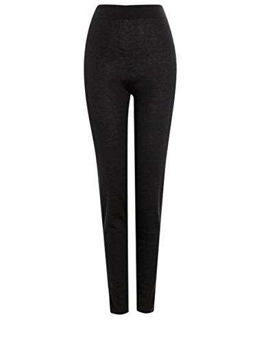 Kaschmir Leggings -> Luxus Leggings mit Kaschmir für Winter -> Figur Schmeichelnde Casual Leggings -> LUXUS Strümpfe -> warm, weich und kuschelig -> Made in Italia -> italienische Mode (schwarz) (Kaschmir-leggings)
