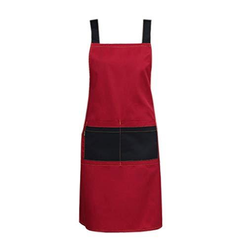 Liutao Schürzen Schürze Küche und Kochen Damenschürze Catering Küchenschürze und Double Pocket Home Langlebig schürzen (Color : Red, Größe : 75 * 65cm) Aa-pocket