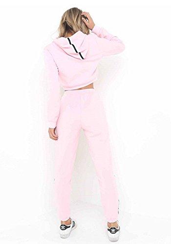 Femme Hoodie Sweat-shirt+Pantalon Cropped Top survêtement à capuche 2 pièces Set 5 couleur Rose
