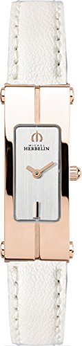 1055/PR12BLA Michel Herbelin Lady's Quartz Strap Watch with Rose Gold Plated Case