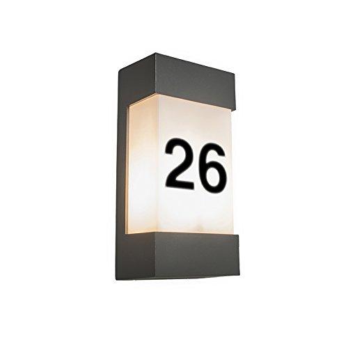 QAZQA Modern Außen Wandleuchte Tide dunkelgrau mit Hausnummer Aufklebern / Außenbeleuchtung Aluminium / Kunststoff / Rechteckig LED geeignet E27 Max. 1 x 18 Watt