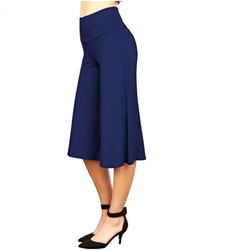 Smile YKK Pantalon Droit Femme Jambe Large Taille Haute Soirée Bal Danse Casual Eté Lâche Mode Bleu Foncé