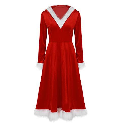 iixpin Weihnachtsfrau Kostüm Frauen Samt Santa Cosplay Kostüm Damen Weihnachten Kleider mit Hut Weihnacht Fasching Karneval Verkleidung Rot ()