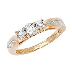 Unique Wishlist 9ct Yellow Gold 15pt Diamond Trilogy Ring with Shoulder Detail - L