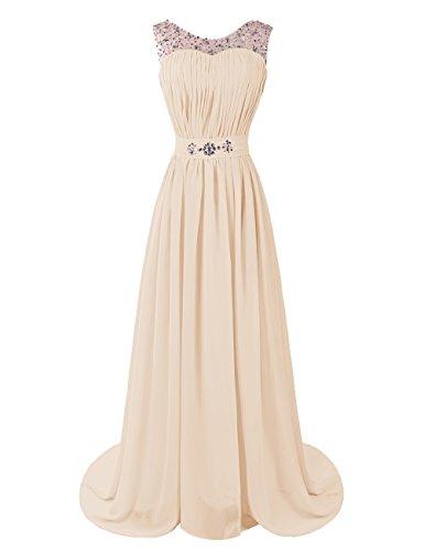 Dresstells, Robe de soirée de mariage/cérémonie/demoiselle d'honneur forme princesse traîne moyenne avec strass Champagne