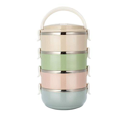 Arteki Thermal Insulated Bento Box,Stainless Steel Portable Lunch Box Nordic Style Food Storage Containers Divided Multi-Layer Students Japanese Style Square Metal Food Boxes Multi (4 Layers) (Square Liquid Container)