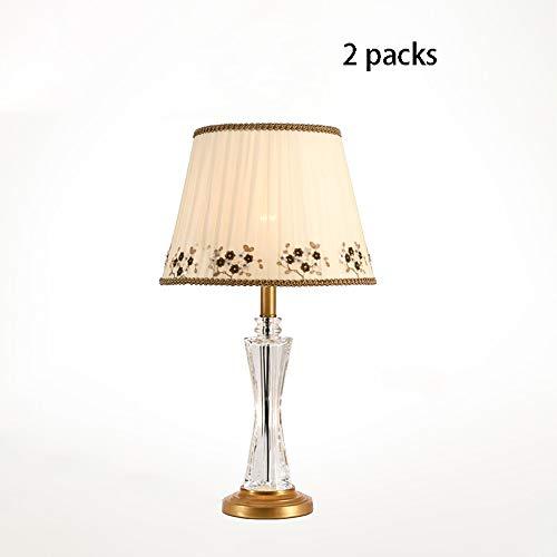 DEPAOSHJ Handmade Lampshade Simple Romantic Home Schlafzimmer Wandleuchte 2 Packs Für Wohnzimmer Balkon Reinem Kupfer Kristall Tischlampe Messing Basis E27 Lichtquelle Sofa Beistelltischlampe -
