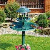 4 In 1 Solar Bird Hotel Garden Feeder Station Bath Table Led Light Planter