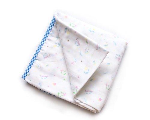 BONAMART ® Blue 75x75cm Newborn Baby Infant Girl Boy 4 Layer Soft Gauze Muslin Swaddler Blanket Bath Towel 100% cotton