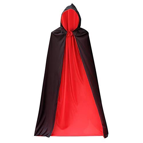 YINETTECH Vampir Teufel Halloween Mantel 170 cm Kapuze Schwarz Rot Dracula Party Magier Hexe Dämon Cape Kleid Kostüm Zubehör Requisiten Unisex