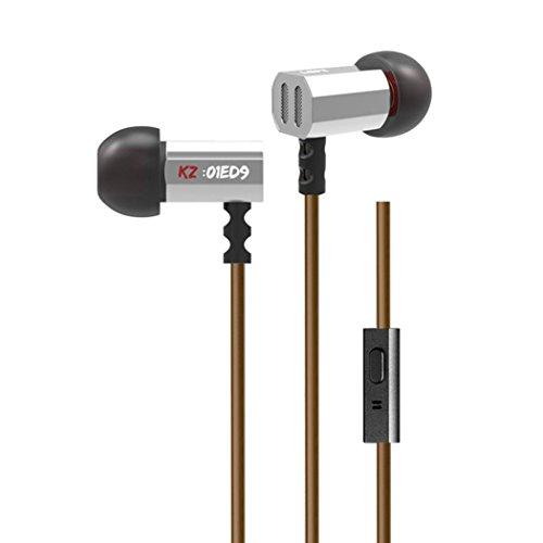 Kingko® 3.5mm In Ear Earphone 1.2m Drähte HI FI Heavy Bass DJ Kopfhörer Earbuds Für Mp3 Telefon Mit Mikrofon (Silber)