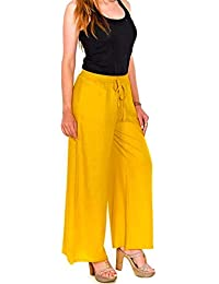 94d06378d26 Shri Dwarka Traders Cotton Casual Wear Palazzo Pant for Women s (Yellow