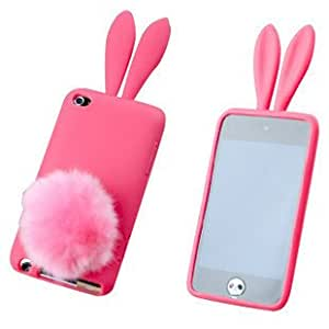 Housse Coque silicone Lapin avec oreilles Apple Ipod Touch 4G rose fluo/fushia + Pompom