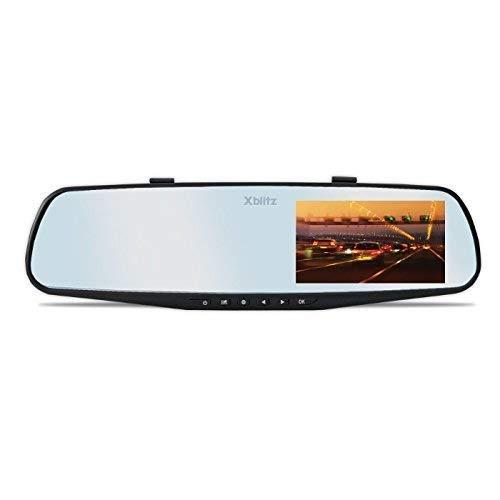 XBLITZ Mirror 2016 Dashcam Full HD 4,3 Zoll Display Autokamera Viderekorder für Auto mit Sprachaufzeichnung Mikrophon Spiegel in Schwarz