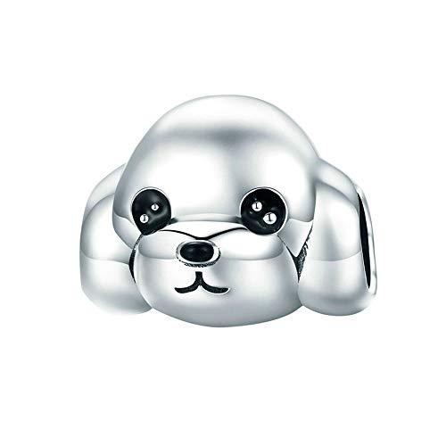 Reiko Perrito Perro Plata de Ley 925 Dijes Bricolaje Colgante Charms para Collares Pulseras,Regalo para Niña,Accesorios Dijes