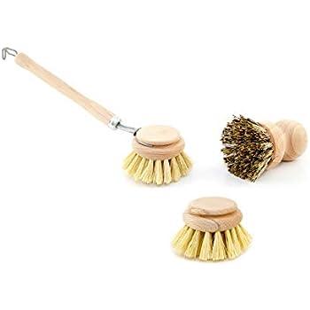Spülbürsten Set Holz Geschirrspülbürste mit 2 Ersatzköpfen und Scheuerbürste,