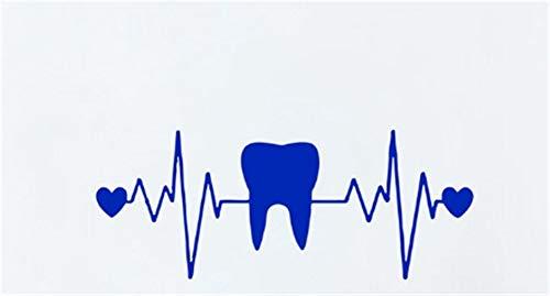 Wandaufkleber,Zähne Zahnarzt Zahnheilkunde Herz EKG Vinyl Wandkunst Aufkleber Zahnklinik Dekor Zahn Wandtattoos Badezimmer Dekor 20X7 cm, blau