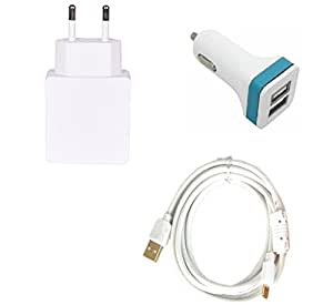 High Quality 2.0 Amp USB Charger+ Fast Charging USB Cable+ 2 Jack USB Car Charger Compatible With Samsung Galaxy A9