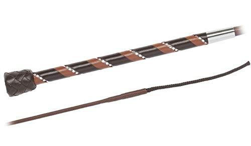 Fleck Reitgerte Ledergriff mit Strassband Größe/Farbe 130cm / Cognac