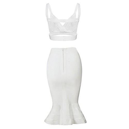 HLBandage 2 Piece Spaghetti Strap Knee Length Mermaid Fishtail Rayon Bandage Dress Blanc