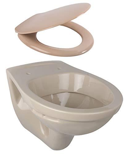 Calmwaters - Hänge-WC als Tiefspül-WC im Komplettset mit WC-Sitz mit Absenkautomatik in Beige-Bahamabeige - 99000190