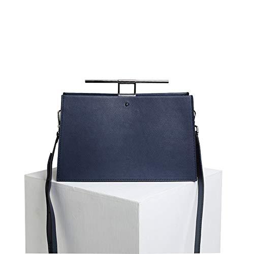 Damen Vintage Leder Clutch Tote Bag Umhängetasche Persönlichkeit tragbare Crossbody Handtasche mit Gurt Alltagswochenende Freizeit Tasche Damen Casual Handtasche Schulter-Handtasche ( Farbe : Blau )