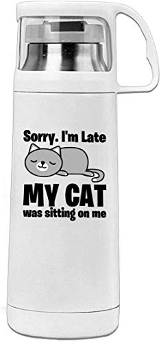Bestqe Vakuumisolierte Trinkflasche,Wasserflasche, Sorry I'm Late My Cat Sitting On Me 11.8oz Travel Vacuum Cover Cup Stainless Steel Thermos Cup