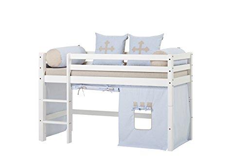 Hoppekids Basic-A4-3 Fairytale Knight Textile und Matratze Halbhoch-/Spiel-/Junior-/Kinder-/Jugendbett, Kiefer massiv, Liegefläche 70 x 160 cm, Holz, weiß, 168 x 81 x 105 cm -